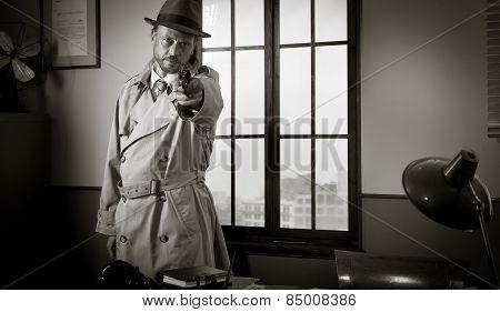 Detective Pointing A Gun