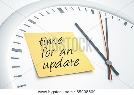 An image of a bright clock with a sticky note and the message time for an update