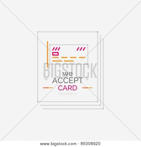 Minimal line design shopping stamps and symbols, futuristic style, accept card label
