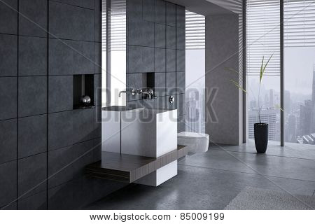 A 3D rendering of a modern basin with toilet against dark stone wall