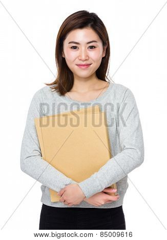 Woman holds folder