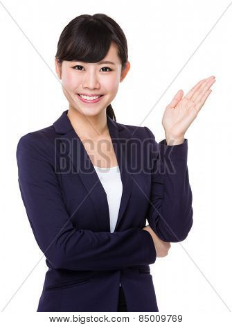 Business woman with open hand palm