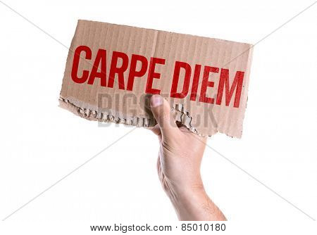 Carpe Diem card isolated on white background