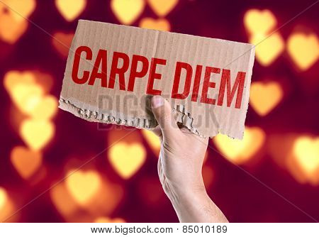 Carpe Diem card with heart bokeh background