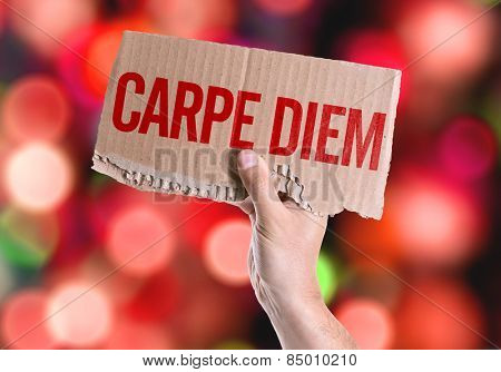 Carpe Diem card with colorful background with defocused lights