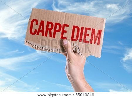 Carpe Diem card with sky background