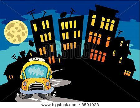 City silhouette with taxi and Moon