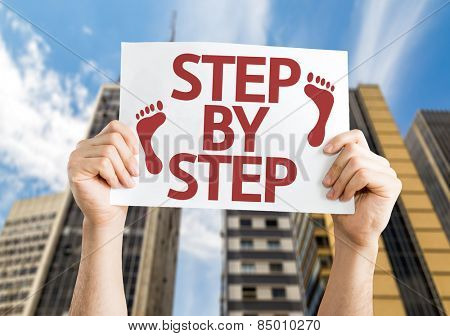 Step By Step card with urban background
