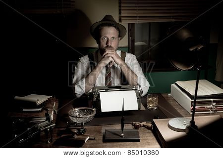 1950S Journalist Working Late At Night