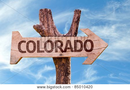 Colorado wooden sign with sky background
