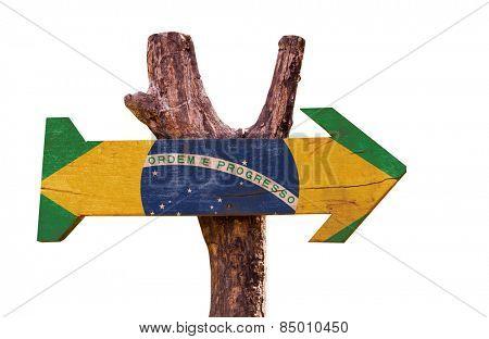 Brazil Flag wooden sign isolated on white background