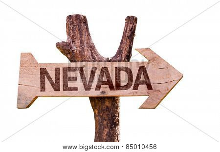 Nevada wooden sign isolated on white background