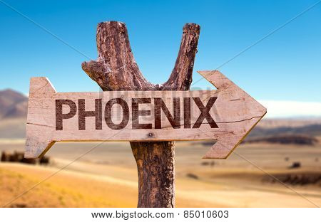 Phoenix wooden sign with a desert background