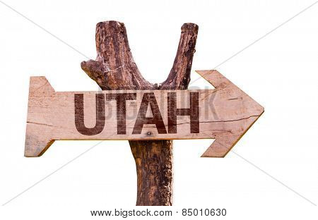 Utah wooden sign isolated on white background