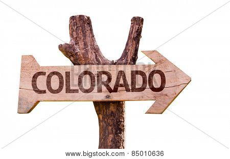 Colorado wooden sign isolated on white background