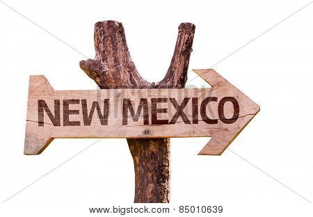 New Mexico wooden sign isolated on white background