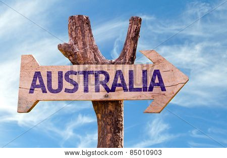 Australia wooden sign with sky background