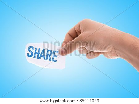 Share piece of paper with blue background
