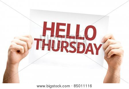 Hello Thursday card isolated on white background