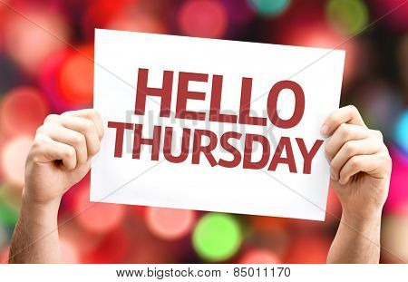 Hello Thursday card with colorful background with defocused lights