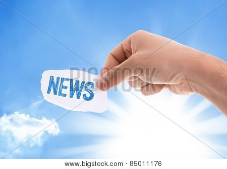 News piece of paper with sky background