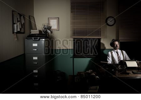Reporter Working Late At Night