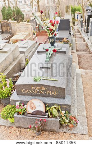 Tomb Of Edith Piaf  In Paris