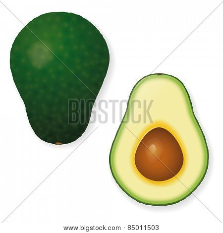 Whole and Halved Avocado Fruit Vector Icon. Vector Illustration of whole and half avocado isolated. Shadows on separate layer.