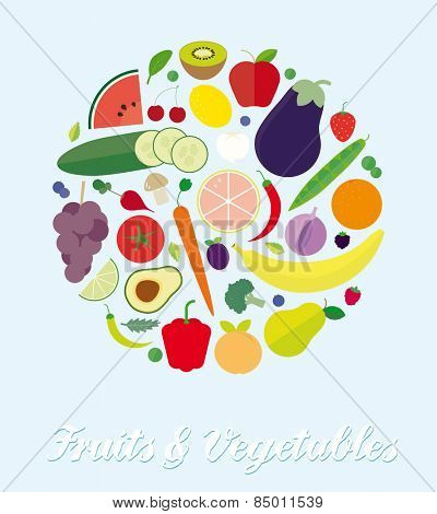 Fruits and Vegetables Assortment Simple Flat Vector Illustration. Simple Illustration of various fruits and vegetables arranged in a circle. Flat design, no gradients or transparencies.