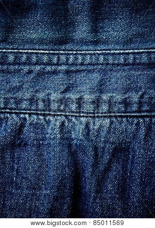 Old threadbare indigo jeans (close up)