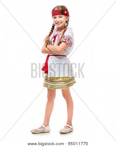 cute little girl in the national Ukrainian costume isolated over white
