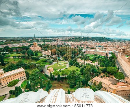 Vatican Gardens and aerial view of the city, Rome