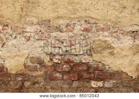 Old wall with cracked plaster. Background texture.