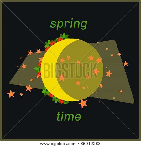 Spring Moon Time Art With Flowers Around.