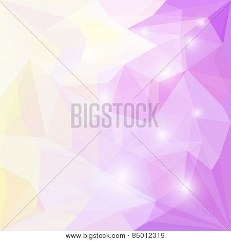 Abstract soft colored polygonal triangular background with glaring lights for use in design