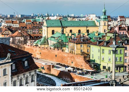 beautiful view of the center of Warsaw, Castle Square and the Barbakan