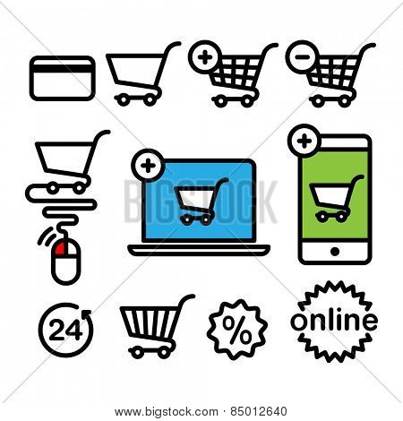 Online shopping icons. Set pictogram supermarket services