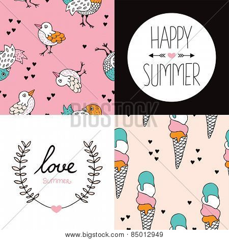 Seamless summer season birds and ice cream cones illustration pattern and happy summer love postcard cover design print in vector