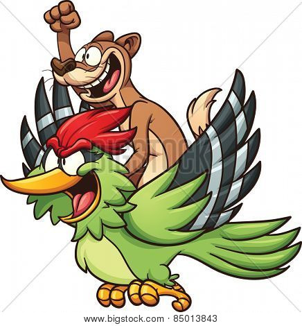 A weasel riding a woodpecker. Vector clip art illustration with simple gradients. Each character on a separate layer.