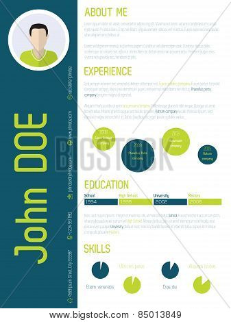 Modern Resume Cv With Cool Colors