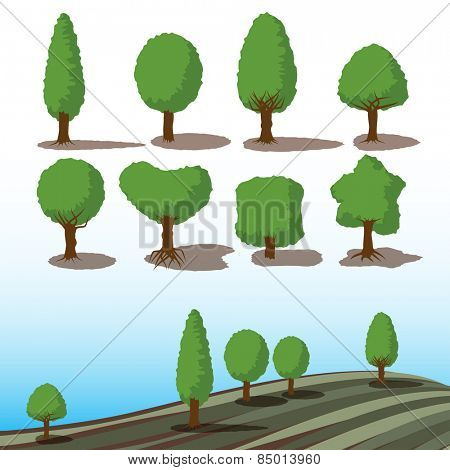 set of green trees with shadows for landscape concept