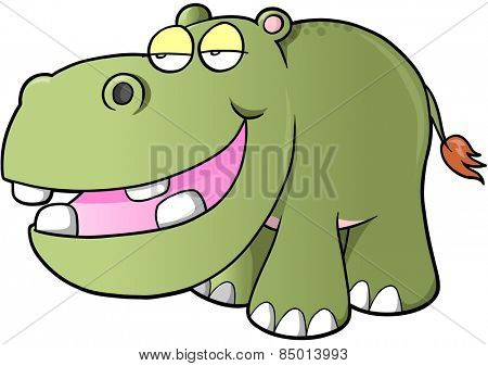 Lazy hippopotamus Vector Illustration Art