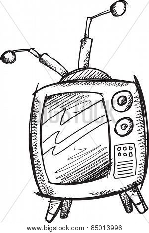 Doodle Sketch Retro Television Vector Illustration Art
