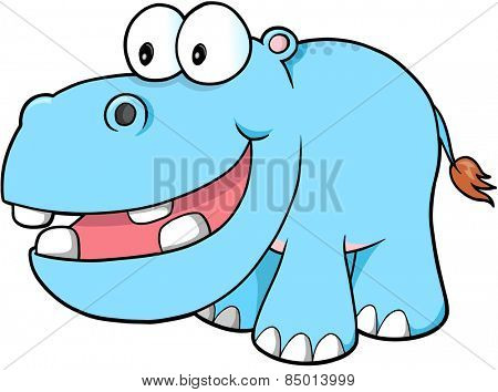 Happy hippopotamus Vector Illustration Art