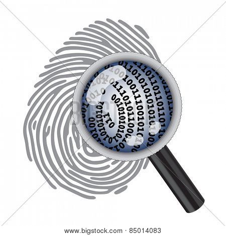 finger print with magnifying glass and digital code