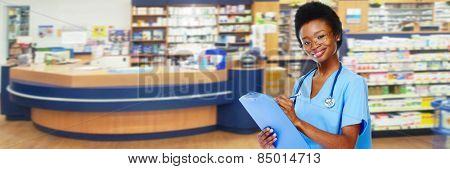 Medical physician doctor  woman over pharmacy background.