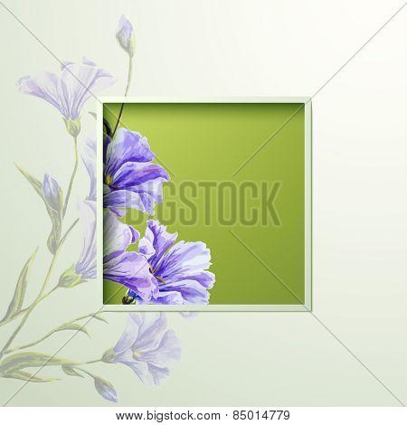 Spring flowers invitation template card. Wedding, marriage, bridal, birthday, Valentine's day. International women's day. Vector illustration