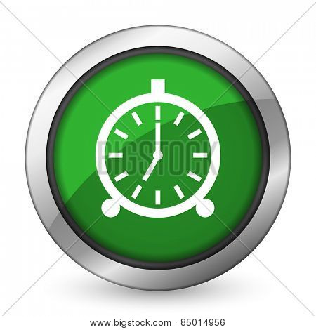 alarm green icon alarm clock sign