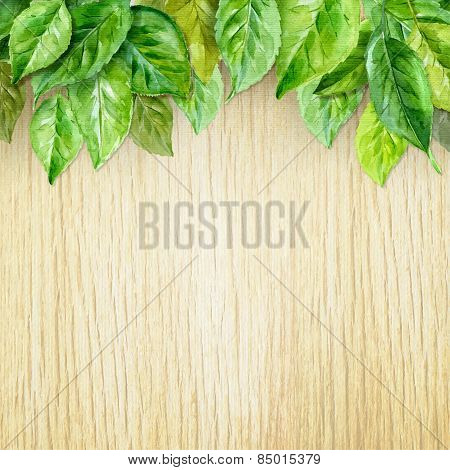 Spring Leaves On Wood Background. Watercolor Illustration. Vector