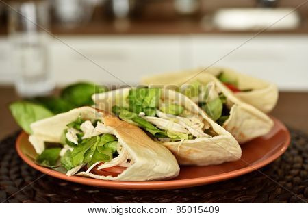 Pitas with turkey meat and vegetables on a plate